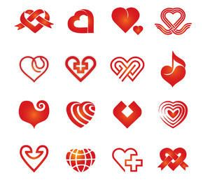 Coleção abstrata de coração decorativo vermelho