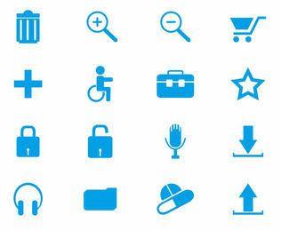 Web azul ícone Pack estilo simples