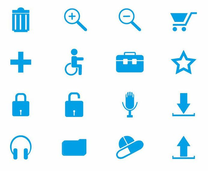 Blue Web Icon Pack Flat Style