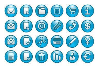 Botões azuis da Web com ícones simplistas