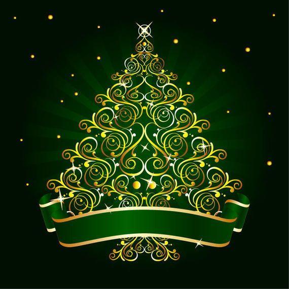 Golden Floral Christmas Tree Vector Download