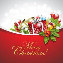 Tarjeta de Navidad con regalos y adornos