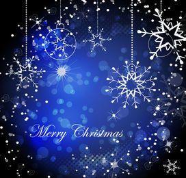 Shiny Decorative Blue Christmas Background