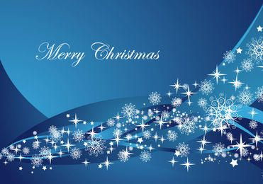 Abstract Blue Waves Christmas Background