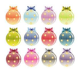 Colorful Set of Decorative Christmas Baubles