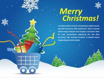 Promo do mercado do carrinho de compras do Natal nevado