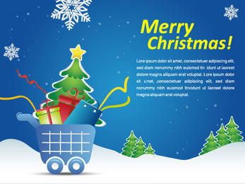 Snowy Christmas Shopping Cart Marketing Promo