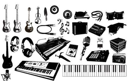Conjunto de gráficos de instrumentos musicais