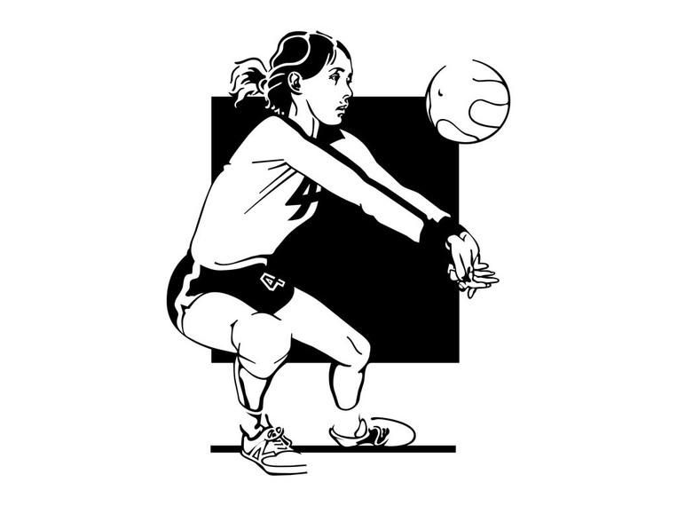 Abstract Design Of A Beach Volleyball Player Vector Image: Volleyball Girl Portrait Sketch