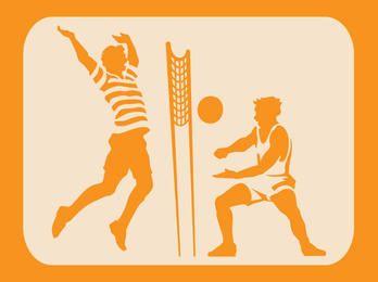 Silueta de bosquejo de voleibol de playa
