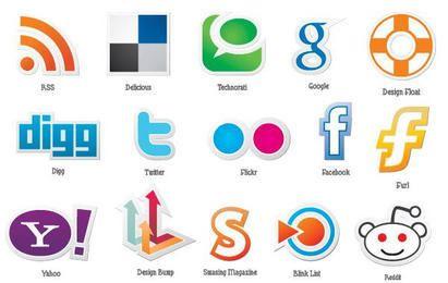 Conjunto de vectores iconos sociales gratis