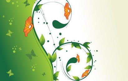Green Swirl Floral Vector illustration 2
