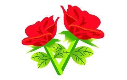 Vector libre rosa roja flores