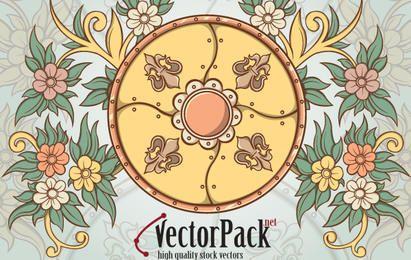 Escudo y elemento floral de vectores