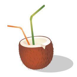 Kokosnuss-Cocktail mit Strohhalm