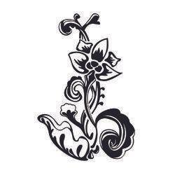Ornamento floral pequeno preto & branco abstrato