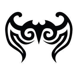 Abstract Black Tribal Bird Tattoo