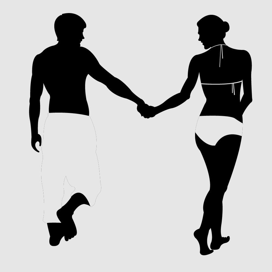 beach couple silhouette vector download