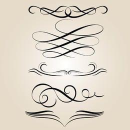Conjunto de ornamento caligráfico abstrato criativo
