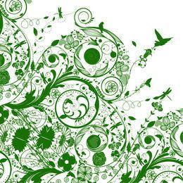 Fondo verde de la naturaleza de la silueta que remolina