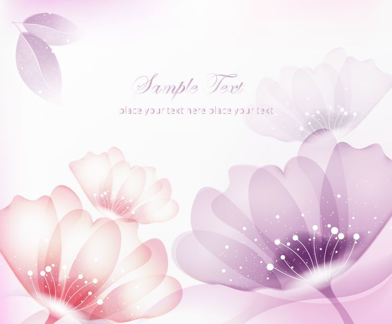 Abstract Red Purple Flowers Background