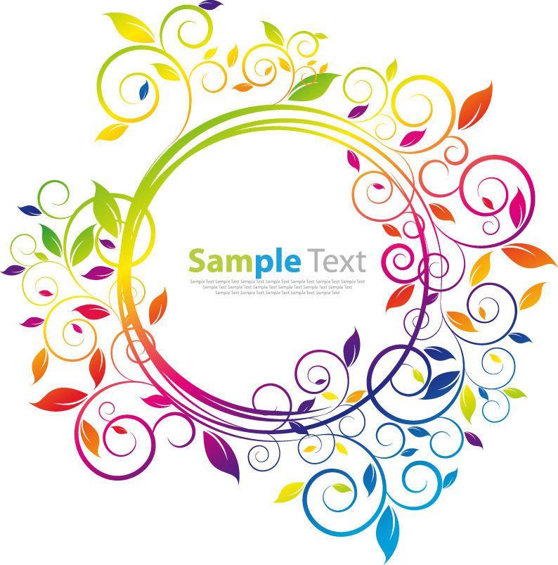 Simplista marco circular floral del arco iris - Descargar vector