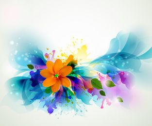 Fluorescente Colorido Floral Con Mancha Grungy