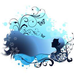Menina azul temático dos termas com rodar floral