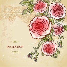 Convite abstrato do casamento do vintage das rosas