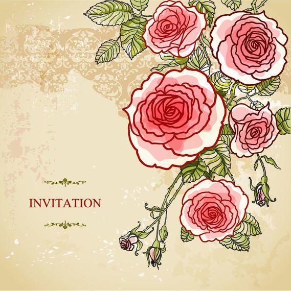 Invitación abstracta de la boda del vintage de las rosas