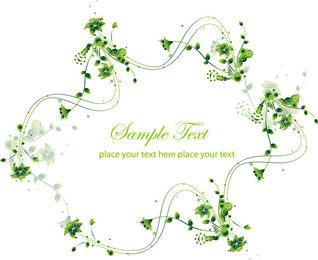 Creative Swirling Floral Frame Green Card