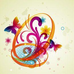Mariposas abstractas con remolinos florales y anillos