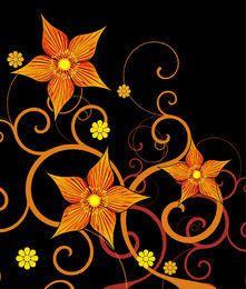 A flor abstrata alaranjada amarela roda no preto