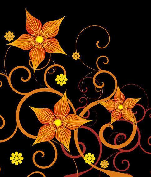 Flor amarilla naranja abstracta remolinos en negro