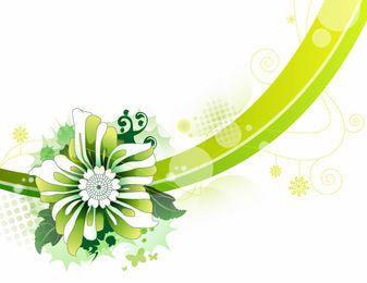 Flor verde abstracta y fondo de curvas