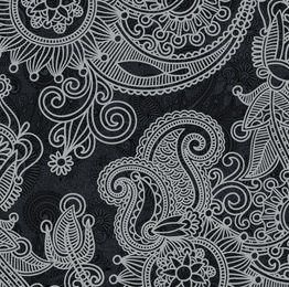 Patrón floral abstracto negro y blanco vintage