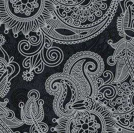 Teste padrão preto & branco do vintage floral abstrato