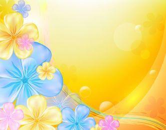 Bela flor Multicolor fundo laranja