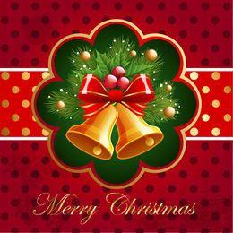 Tarjeta de Navidad con campanas y muérdago