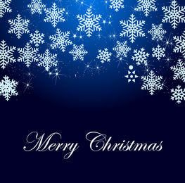 Copos de nieve y destellos de fondo azul de Navidad
