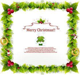 Plantilla floral de la tarjeta de Navidad del marco