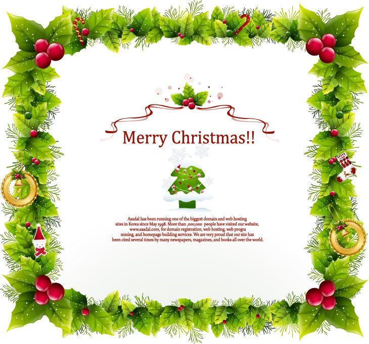 floral frame christmas card template  vector download