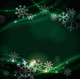 Green Fluorescent Curves with Snowflakes Background