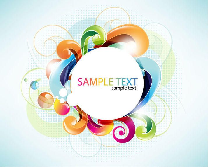 white circular banner with colorful swirls vector download