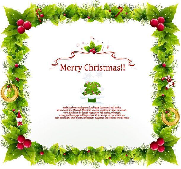 tarjeta de navidad con el marco de la guirnalda decorativa