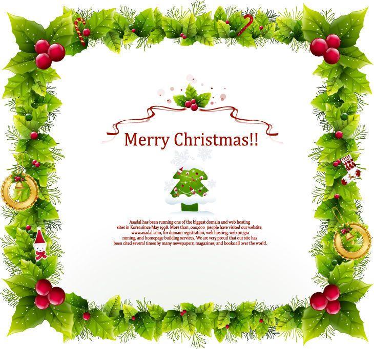 Tarjeta de Navidad con el marco de la guirnalda decorativa ...