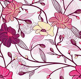 Nahtloser Retro Blumenmuster-Hintergrund
