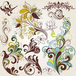 Elementos florais coloridos rodando vintage