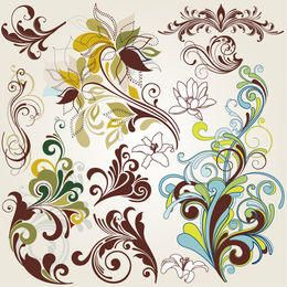 Vintage Swirling Colorful Floral Elements