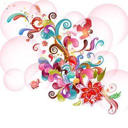 Floral abstrato colorido & redemoinhos em bolhas